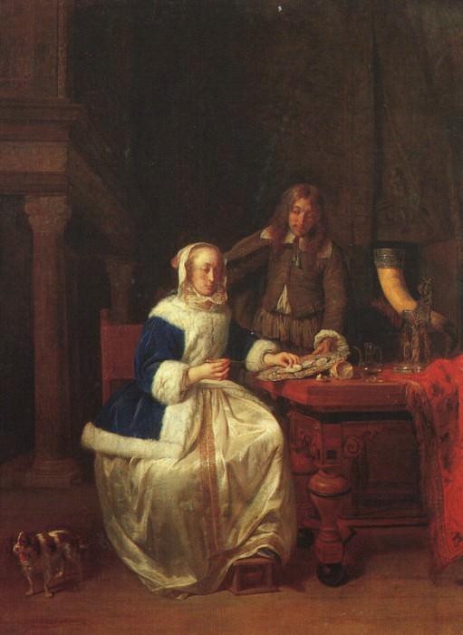 Breakfast, 1660, oil on wood, The Hermitage at St. Pet. Gabriel Metsu