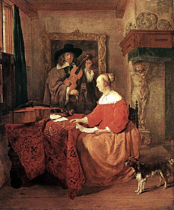 A Woman Seated At A Table And A Man Tuning A Violin. Gabriel Metsu