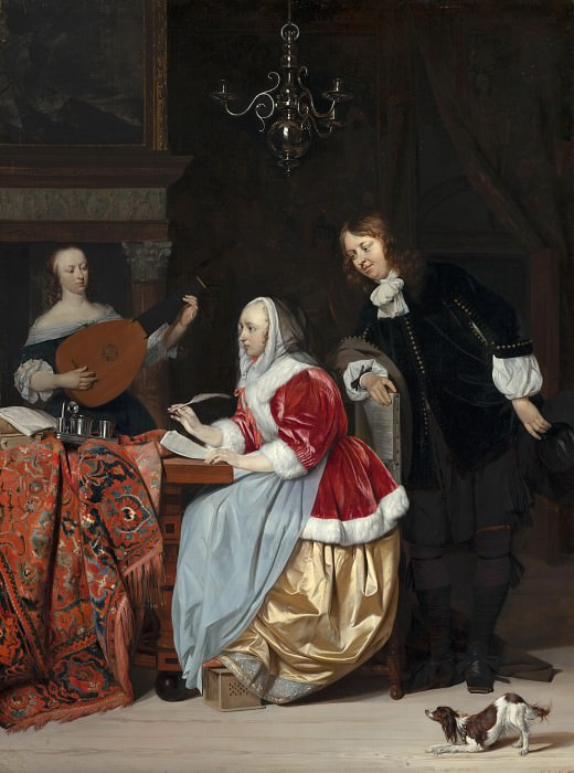 A Young Woman Composing a Piece of Music. Gabriel Metsu