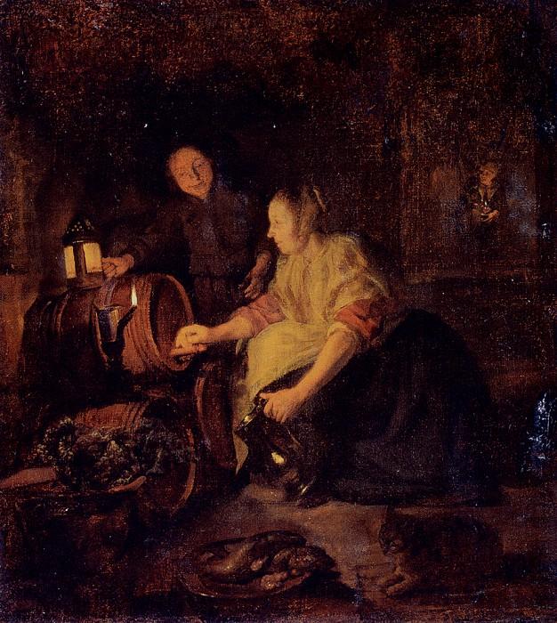 A Woman Drawing Wine From A Barrel. Gabriel Metsu