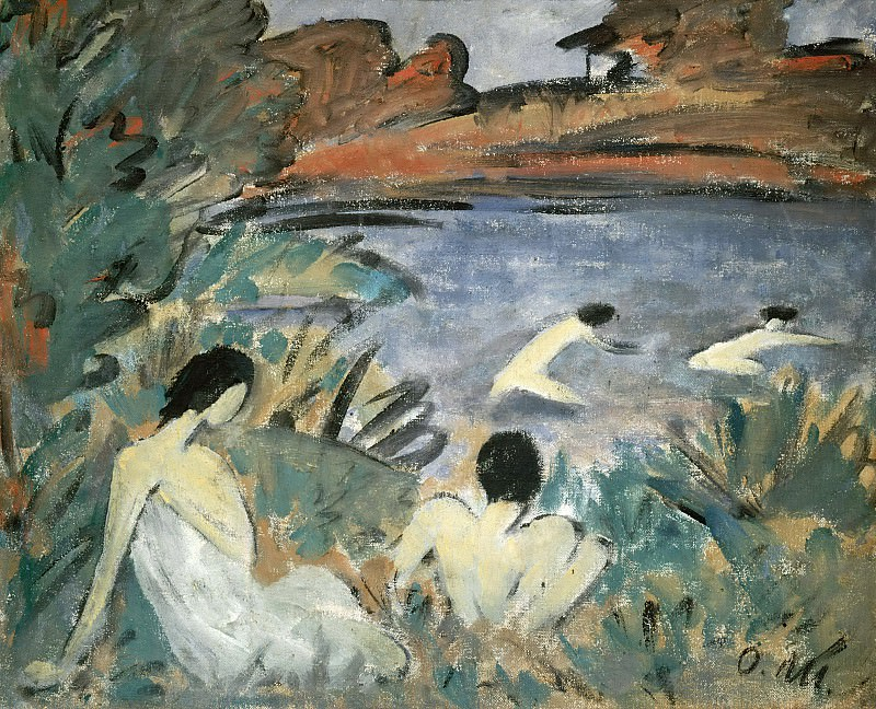 Summer day (Pond with Bathers). Otto Muller