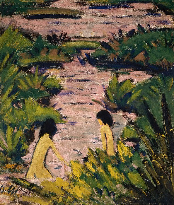 Bathers in the reed ditch. Otto Muller