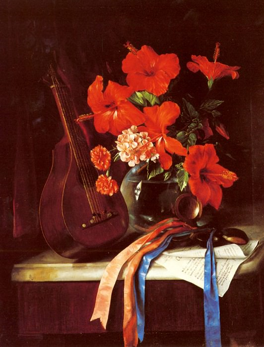 Still Life With Mandolin And Castagnets. Jose Maria Bracho Y Murillo