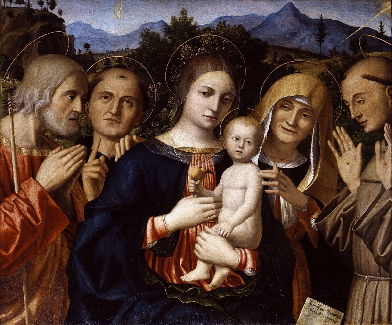 Мадонна с младенцем и святым Иосифом. Антоний Падуанский. Анна и Франческо. Франческо Мороне