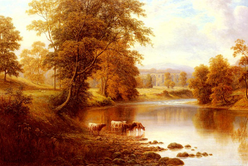 Mellor William Bolton Abbey From The Wharfe Yorkshire. William Mellor