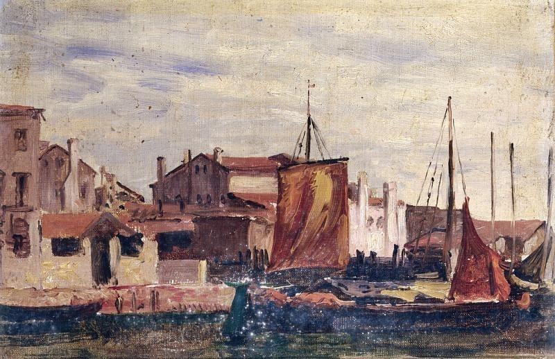 Вид на Кьоджиа с лодками и домами. Карло Манчини