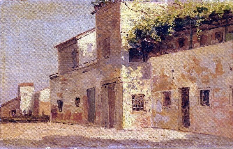 Улица в Кьоджии с домами на солнце. Карло Манчини
