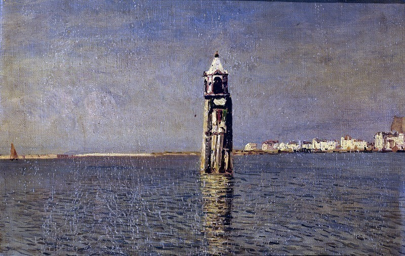 Вид на лагуну Кьоджиа с маяком. Карло Манчини