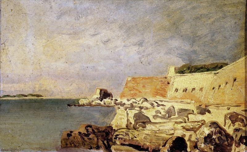Вид на форт и скалу в Кьоджиа. Карло Манчини