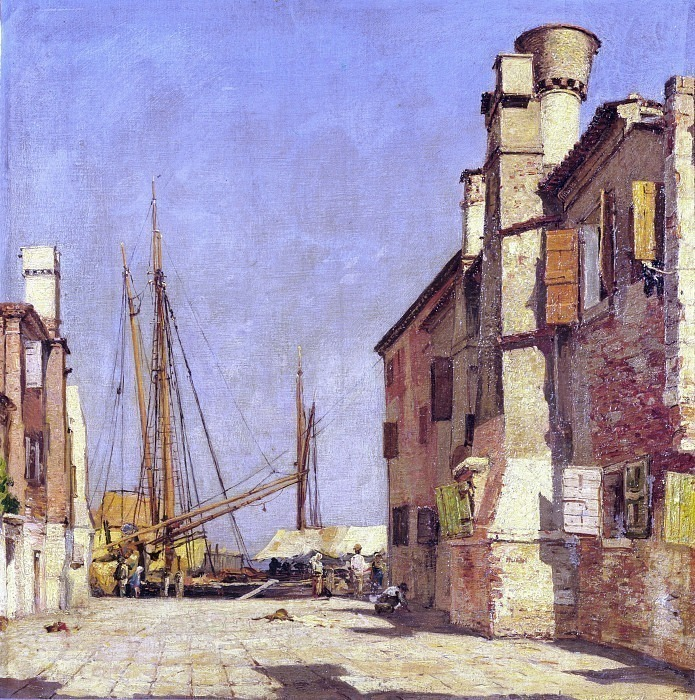 Вид на Кьоджиа с лодками. Карло Манчини