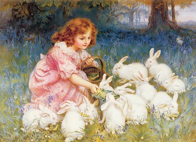 Кормление кроликов. Фредерик Морган