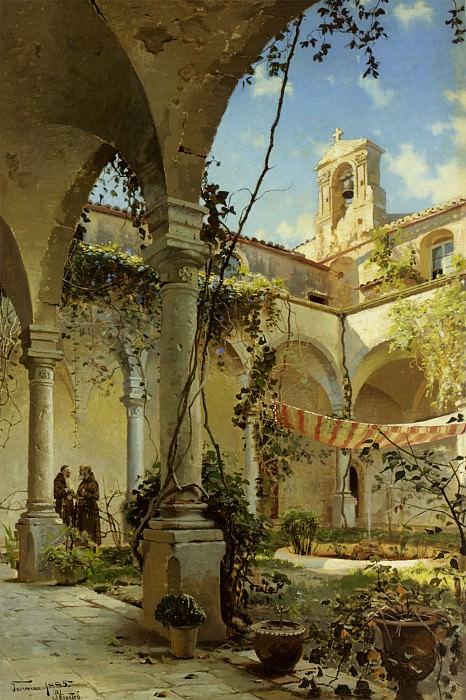 The Cloister Taormina 1885 Oil on Canvas huge. Peder Mork Monsted