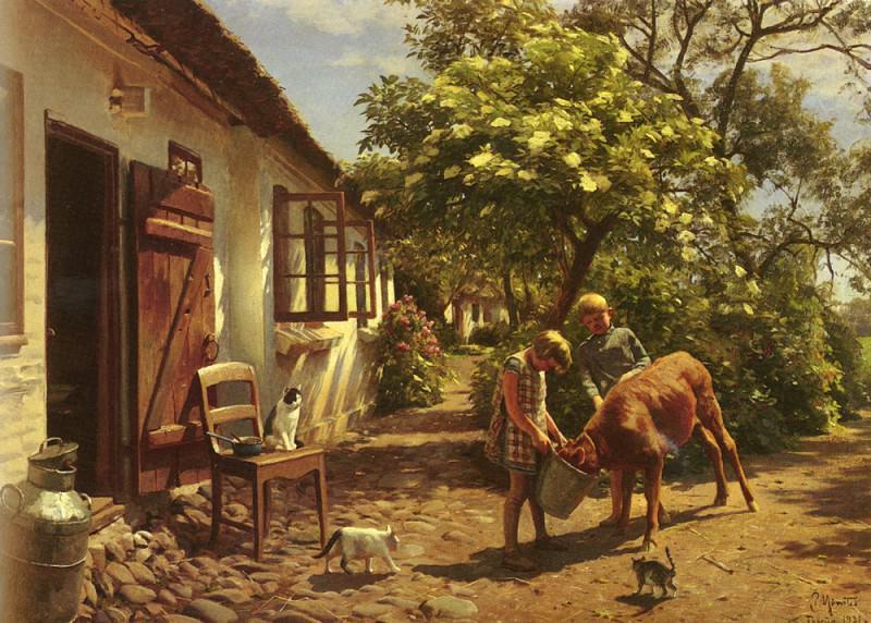 Feeding The Calf SnD THORUP 1931 O C 70.5 by 101cm. Peder Mork Monsted