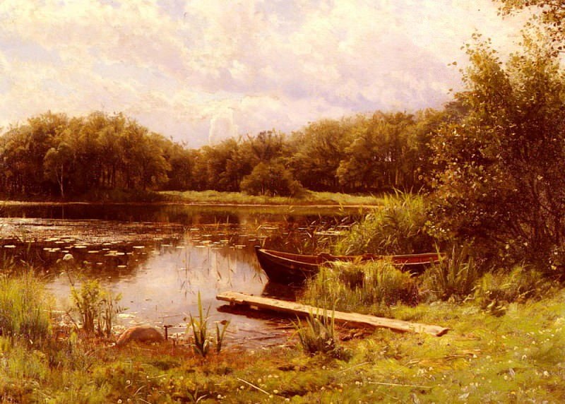 A Boat Moored On A Quiet Lake. Peder Mork Monsted