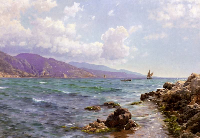Fishing Boats On The Water Cap Martin. Peder Mork Monsted