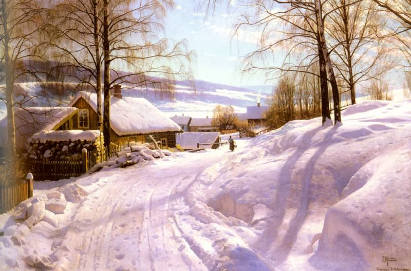 On The Snowy Path. Peder Mork Monsted