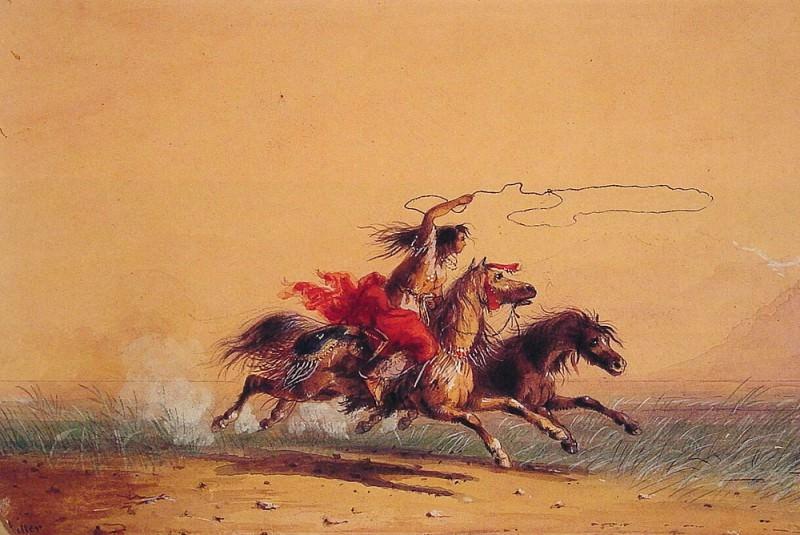 Lassoing Wild Horses. Alfred Jacob Miller