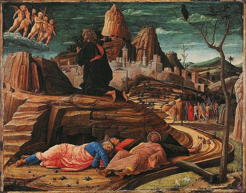 Христос на горе олив (Моление о чаше) (1455). Андреа Мантенья