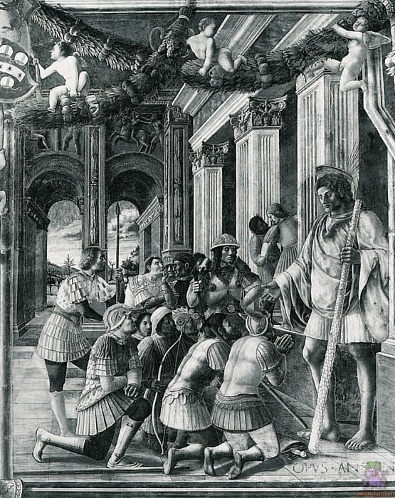 Scenes from the Life of St.Christopher 3 (1448). Andrea Mantegna