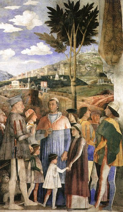 THE MEETING, DETAIL FROM WEST WALL OF THE CAMERA DE. Andrea Mantegna