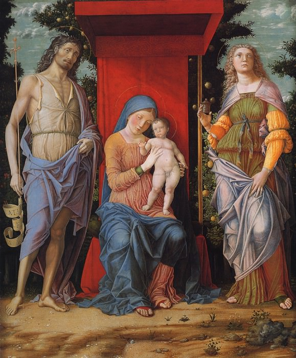 Virgin and child with the Magdalen and St John the Baptist. Andrea Mantegna