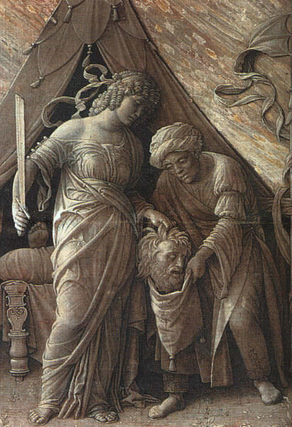 JUDITH AND HOLOFERNES, 1495-1500, GRISAILLE PAINTIN. Andrea Mantegna