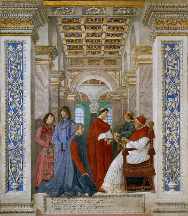 Папа Сикст IV назначает Бартоломео Платина первым библиотекарем Ватиканской библиотеки. Мелоццо да Форли
