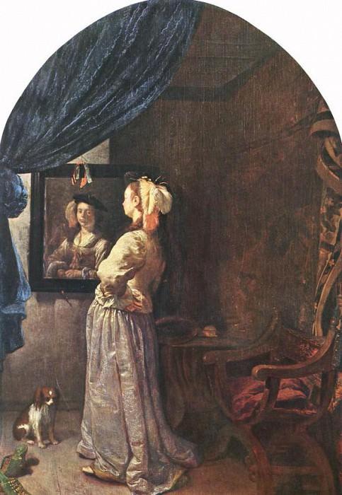 Женщина перед зеркалом. Франц ван Мирис