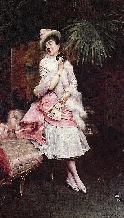 LADY WITH A MASK. Raimundo De Madrazo Y Garreta