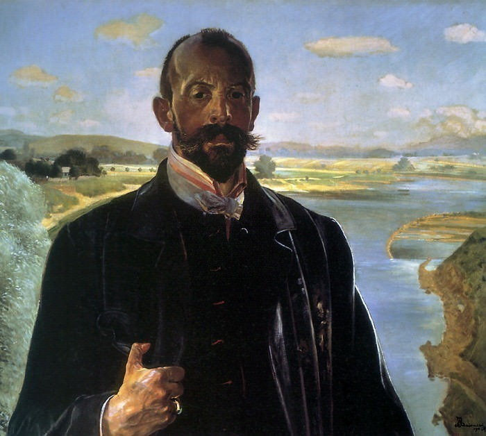selfportrait, vistula river behind. Jacek Malczewski