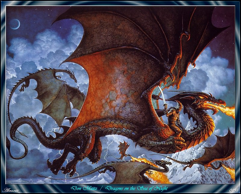 Dragons On The Sea Of Night (Abraxsis). Don Maitz