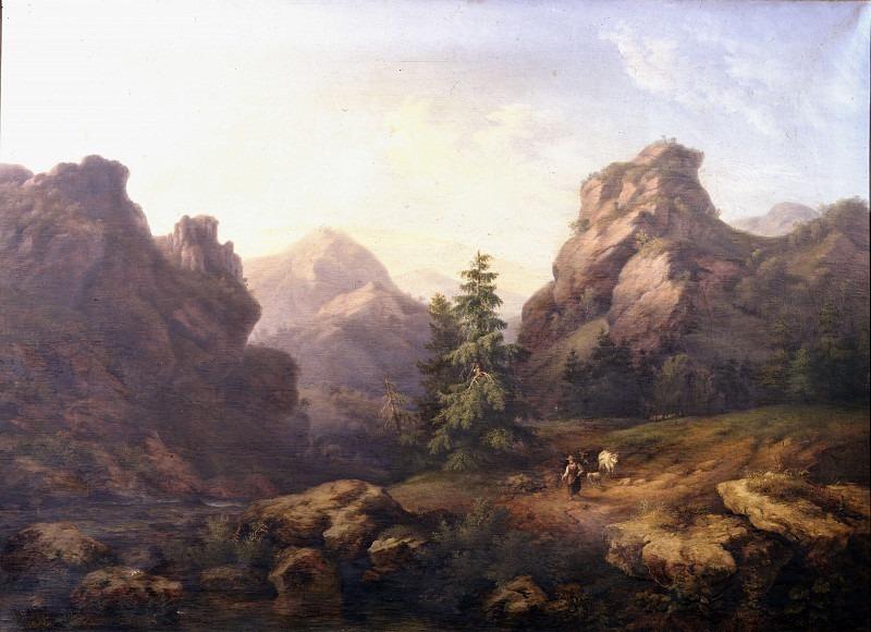 Горный пейзаж с пастушкой и стадами. Андреа Антонио Мария Маренци