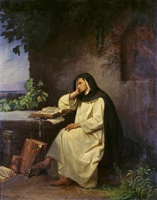 Meditating Benedictine monk. Julius Muhr