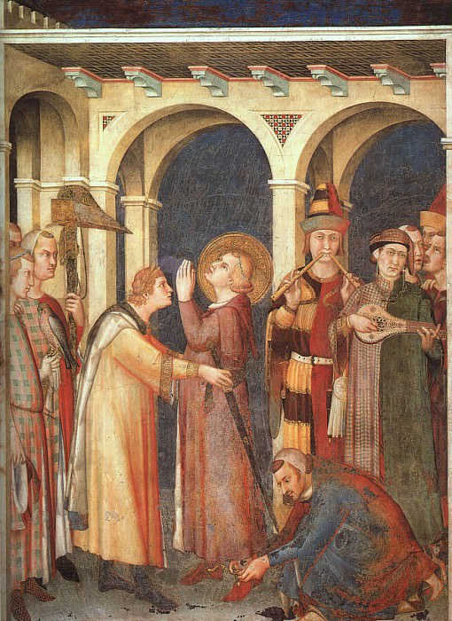 St. Martin is Knighted, approx. 1321, fresco, Lower. Simone Martini