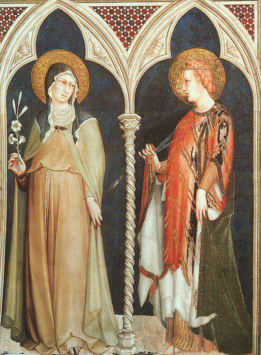 St. Clare and St. Elizabeth of Hungary, approx. 1321. Simone Martini