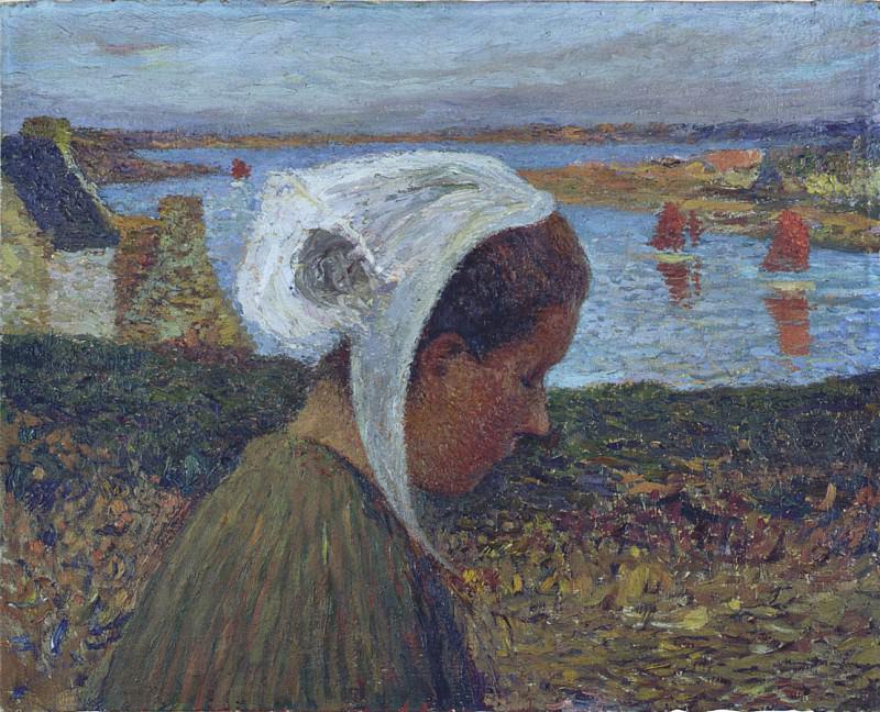 Jeune Bretonne au Bord de la Mer. Henri-Jean-Guillaume Martin