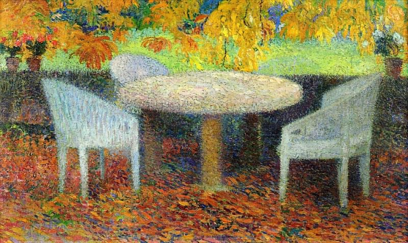The Large Stone Table under the Chestnut Street at Marquayrol 1915. Henri-Jean-Guillaume Martin