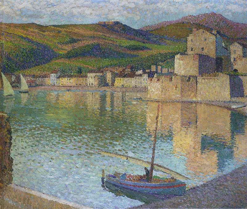 Blue Boat in Port Collioure 1902. Henri-Jean-Guillaume Martin