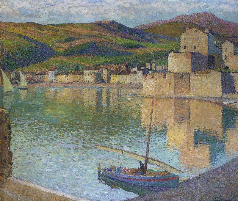 Blue Boat in Port Collioure 1902. Henri-Jean-Guillaume Martin