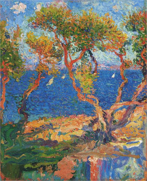 Olive Trees by the Sea. Henri-Jean-Guillaume Martin