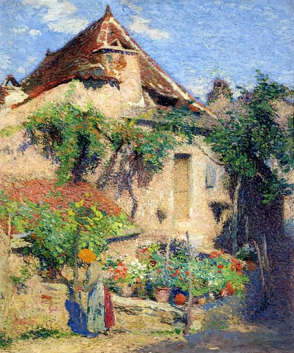 House and Garden at Saint Cirq Lapopie 1920. Henri-Jean-Guillaume Martin