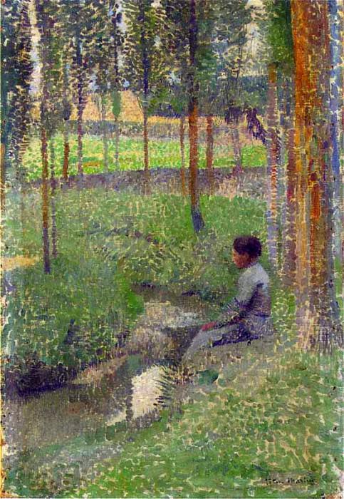 Женщина, сидящая у ручья, или Женщина на опушке леса. Анри-Жан-Гийом Мартин