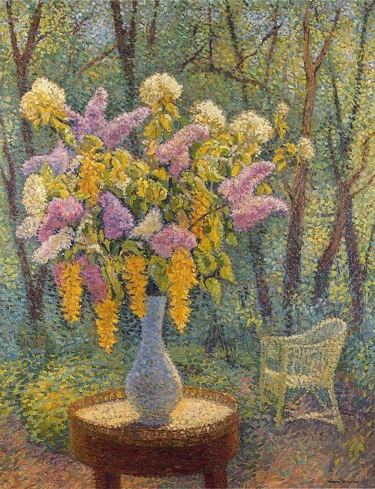 Vase of Flowers in a Garden. Henri-Jean-Guillaume Martin