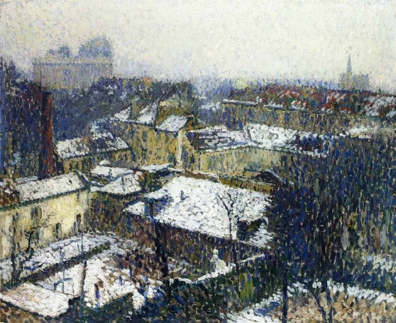 The Roofs of Paris in the Snow the View from the Artists Studio 1895. Henri-Jean-Guillaume Martin