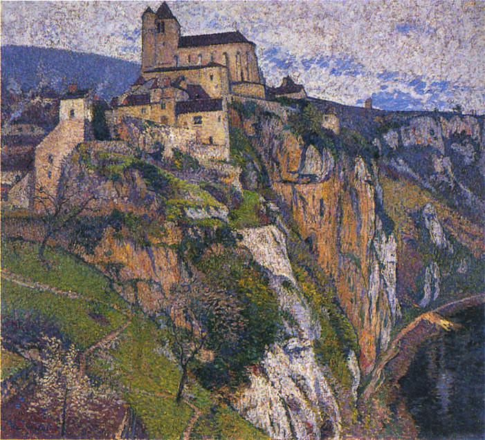 Saint Cirq Lapopie sous la Pluie. Henri-Jean-Guillaume Martin
