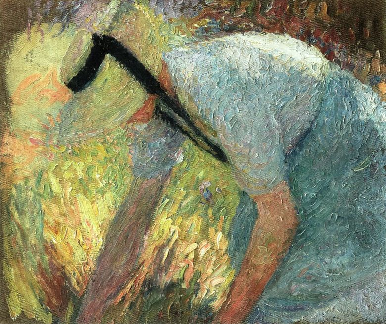 Woman in a Blue Apron and Straw Hat Picking A Spray of Flowers 1919. Henri-Jean-Guillaume Martin