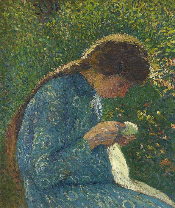 A Young Woman Sewing. Henri-Jean-Guillaume Martin