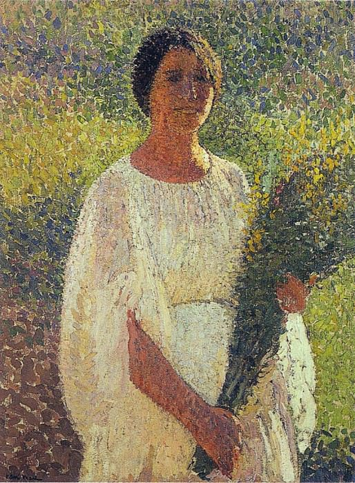Girl with Flowers. Henri-Jean-Guillaume Martin