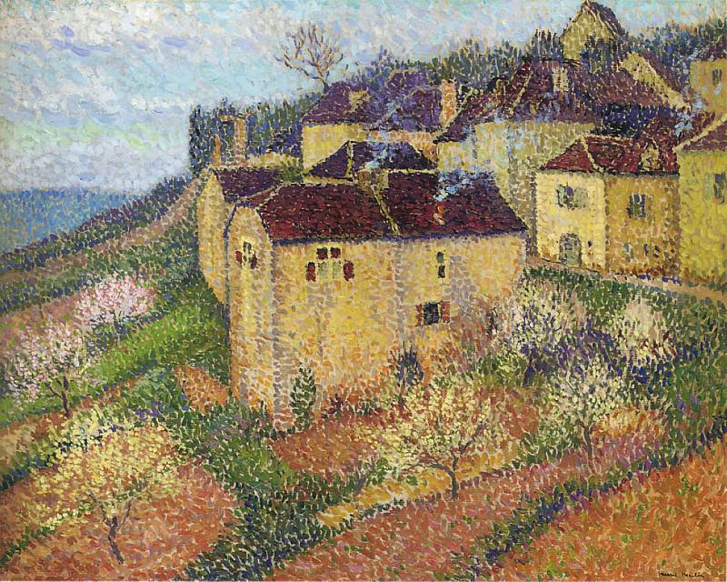 Groupe de Maisons a Saint Cirq Lapopie. Henri-Jean-Guillaume Martin