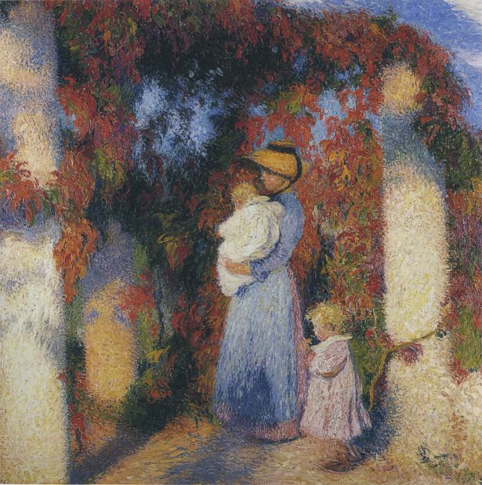 Mother and Child in Pergola at Marquayrol. Henri-Jean-Guillaume Martin
